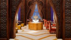 Al Nafoorah - Location: Jumeirah Zabeel Saray on Palm Jumeirah; Setting: Ground floor in the right wing of the resort. Traditional Arabic and Lebanese character with Arabic music and live performances; Type of Cuisine: Great Lebanese/Arabic food.