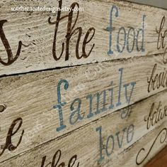 This beautiful wood sign features the phrase:  Bless the food before us, the family beside us, and the love between us.  Amen  It is painted in a distressed white background and then given an antique finish to give the beautiful pallet wood an aged effect. •••••DETAILS•••••  • approximately 14x30 • various color option available • hardware attached and ready to hang • distressed white background with antique rubbed finish for aging effect  👉Colors cannot be changed after purchase. The…