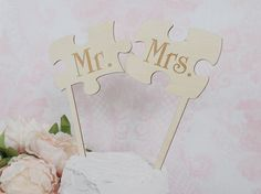 Puzzle Pieces Cake Topper Mr and Mrs Puzzle by DownInTheBoondocks