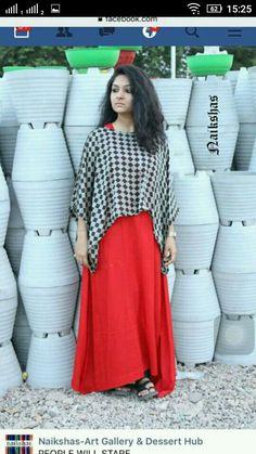 Kurti Frock Dress, Chiffon Dress, Half Saree Lehenga, Sarees, Kurta Style, Casual Dresses, Fashion Dresses, Dress Neck Designs, Cotton Dresses
