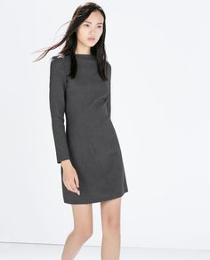 Image 3 of SEAMED BOAT NECK DRESS from Zara