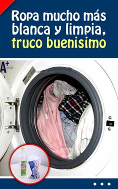 Ropa mucho más blanca y limpia, truco buenisimo Cleaning Hacks, Ideas Para, Washing Machine, Home Appliances, Tips, Natural, Healthy, Cleaning, Cakes