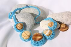 Summer turquoise necklace seashell crochet by SpringFresh on Etsy,