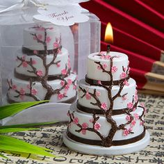 Cherry Blossom Design Cake Candle Wedding Favors