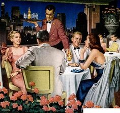 Fine Dining - detail from 1946 White Rock ad. Vintage Love, Vintage Ads, Vintage Prints, Vintage Posters, Vintage Party, Vintage Pictures, Vintage Images, Vintage Photographs, Arte Pop