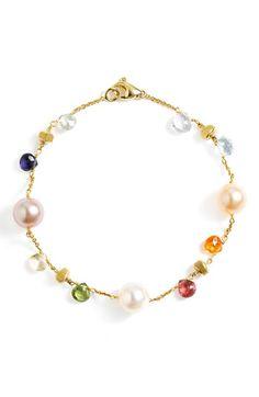 Marco Bicego 'Paradise' Station Bracelet available at Silver Bracelets, Bangle Bracelets, Beaded Jewelry, Silver Jewelry, Silver Ring, Maxi Collar, Sea Glass Jewelry, Minimalist Jewelry, Pearl Bracelet