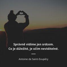 Správně vidíme jen srdcem. Co je důležité, je očím neviditelné. - Antoine de Saint-Exupéry #srdce Beautiful Words In English, Motto, Wise Words, Einstein, Humor, Motivation, Samurai, Quotes, Inspiration