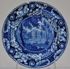 Antique Blue Staffordshire Riley KingsWeston Gloucestershire Plate circa 1810