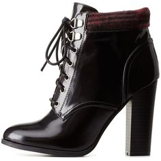 0b33626e676ec Charlotte Russe Black Qupid Plaid-Collared Chunky Heel Combat Booties...  ( 46