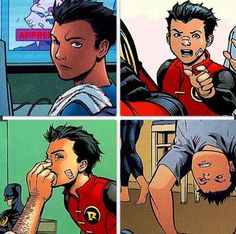Damian Wayne with his classic band-aid on the nose X3