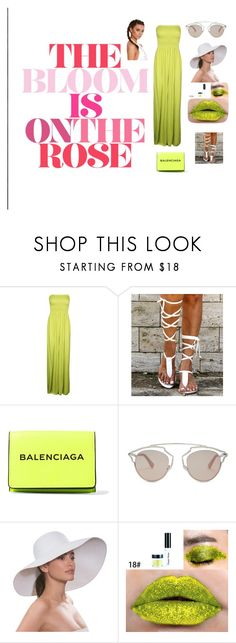 Bloom Green rose by ewwissau on Polyvore featuring Boohoo, Balenciaga, Christian Dior and Eric Javits
