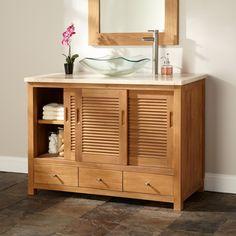 Bathroom, Teak Bathroom Vanity Stone Vessel Open Wood: Decorate your bathroom with bathroom sink cabinet