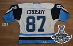 Penguins  87 Sidney Crosby White Blue CCM Throwback 2017 Stanley Cup Finals  Champions Stitched NHL d6c93f871
