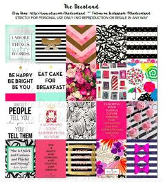 PRINTABLES - Kate Spade Theme Inspired Stickers for Erin Condren Planner Squares Grid Kikki K Webster