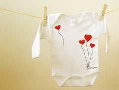 Baby Bodysuit Clothing Onesie  Valentine Heart by BHBKidstyle