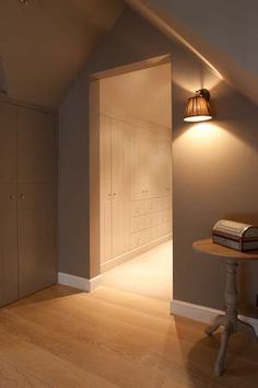 Walk in closet - great wall colour Armoire Dressing, Dressing Room Closet, Living Tv, Home And Living, Small Space Interior Design, Interior Design Living Room, Attic Spaces, Walk In Closet, Beautiful Interiors