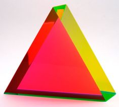 """In the 1960s, Vasa developed techniques for working with cast laminated acrylic forms, based on simple Euclidean shapes. These prisms of luminous construction are created by composing colored planes within these geometric forms. Each is signed and dated by the artist. Due to the nature of this process, colors are unique to each piece and may vary from the photo."""""""
