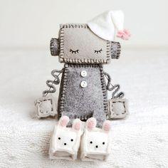 Sleeping Robot With Bunny Slippers in Pink, Geek Nursery Decor Felt Crafts Diy, Fun Crafts, Sewing Crafts, Sewing Projects, Geek Nursery, Nursery Decor, Bunny Slippers, Kawaii Plush, Bunny Face