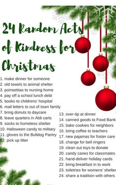 Try using this list for the suggested Acts of Kindness for community helpers, during the month of December. All Things Christmas, Holiday Fun, Christmas Holidays, Christmas Crafts, Weird Holidays, Xmas, Retro Christmas, Christmas Christmas, Kindness Projects
