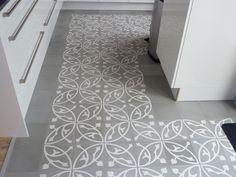 White Grey Portuguese Tiles Kitchen Floor
