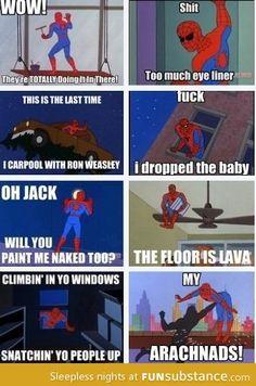 Spiderman comics--these always make me giggle