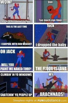 Spiderman comics--these always make me giggle
