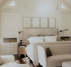 striped white headboard bed room
