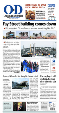 The front page for Monday, March 3, 2014: Fay Street building comes down