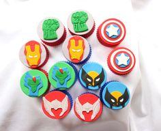 12 Super Hero Squad  inspired edible fondant cake cupcake cookie topper captain america hulk wolverine reptil superhero thor iron man