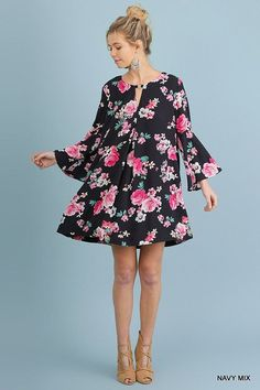 Claire Navy Floral Dress by Umgee