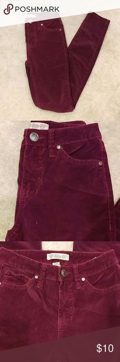 Nine West Vintage America Red Velvet Corduroy Pant Excellent condition size 2 Nine West corduroy skinny jeans in Maroon Red Velvet color. Smoke and pet free home. Urban Outfitters Pants