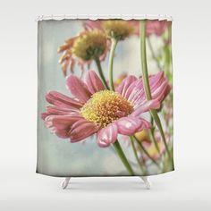Shower Curtain  Pink Daisy  Vintage Romantic by MScottPhotography  -- Join DigiColorCreations.com today and make custom-designed items for your Etsy shop!