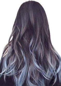 Blue Denim Hair Colors: Touch of Baby Blue Ombre #hairdye