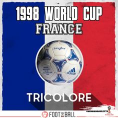 The Adidas 'Tricolore', introduced for 1998 World Cup was the first ball to take on a  multi-coloured design . . . #Football #Futbol #Soccer #SoccerLife #FootTheBall #FootballWorldCup #SoccerWorldCup #RussianRoulette #DidYouKnow #France #French #Color #Sports #Adidas #AdidasOriginals #History #1990s