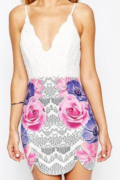 Floral Print White Spaghetti Strap V Neck Dress