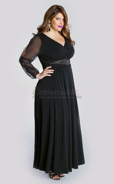 5c487f2f32915 Dark Navy V Neck Chiffon Ankle Length Plus Size Bridesmaid Dress with Long  Sleeve PSDCA-