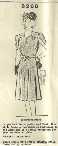 Vintage 40s Mail Order Sewing Pattern 8268 by studioGpatterns, $26.50
