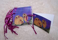 Owls Gift Tags  Mini Cards by Marie Logston. by mariesimagination, $10.00