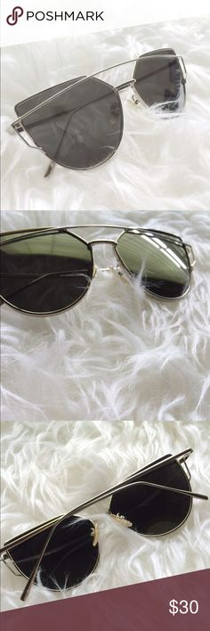 Silver Mirrored Glasses Cateye Cat Eye Runway style glasses with mirrored effect. Brand new! Not Urban. Urban Outfitters Accessories Sunglasses