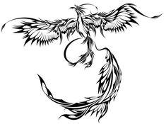 Flying Tribal Phoenix Tattoo Design