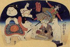 Japanese Fan depicting folk toys