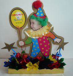Clown birthday party centerpiece personalized with a baby photo. #happybirthday  #clowns