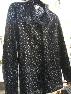 Vintage/black/islet/lace/blouse/silver/inlay