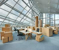 Working in a Frank O. Gehry building with Frank O. Gehry office furniture.