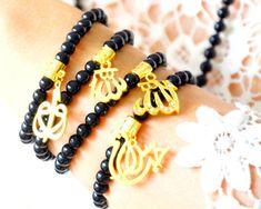 Holy Black Gift, Muslim Rosary, Long Misbah, 99 Bead Onyx Tasbeh, Muslim Tassel Necklace, Calligraphy Eid Fitr Gift, Allah Worship Devotions