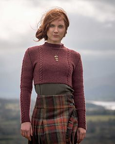 Fitted cropped cable sweater knitting pattern. Ouse Bridge by Francesca Hughes knit in The Fibre Co. Knightsbridge