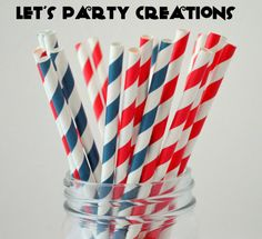Paper Straws--50 Navy and Red Stripe, Nautical Paper Straws Retro Vintage: Navy Weddings, Birthday Party, Nautical Baby Shower