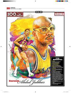 Kareem Abdul Jabbar 100 Leyendas del Deporte / 100 Sports Legends by Jesús R. Sánchez, via Behance