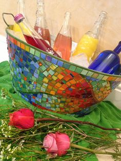 Ice bucket by Karin Wainwright - Summer fun #mosaic #mosaicart