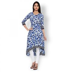 Buy Blue High - Low Style Cotton Kurti for womens online India, Best Prices, Reviews - Peachmode
